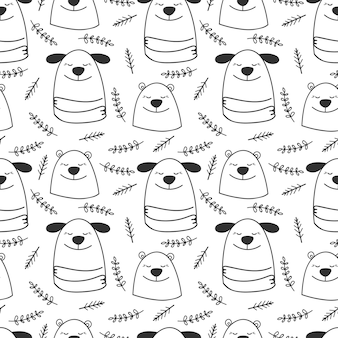 Doodle line hunde und bären nahtloses muster