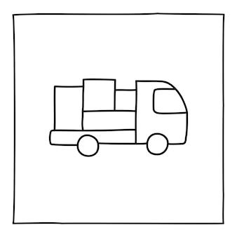Doodle-lkw-symbol, handgezeichnet mit dünner linie, isoliert auf weißem hintergrund. vektor-illustration.