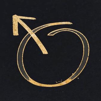 Doodle männlicher pfeilzeichenvektor im goldton