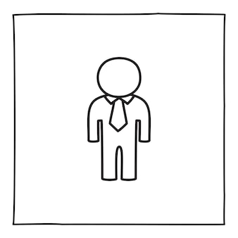 Doodle mann oder geschlechtslose person symbol oder logo, handgezeichnet mit dünner schwarzer linie.