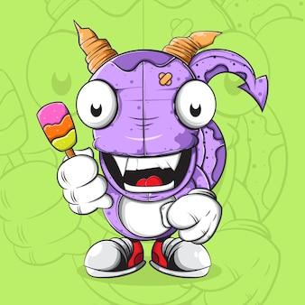 Doodle monster charakter mit eiscreme