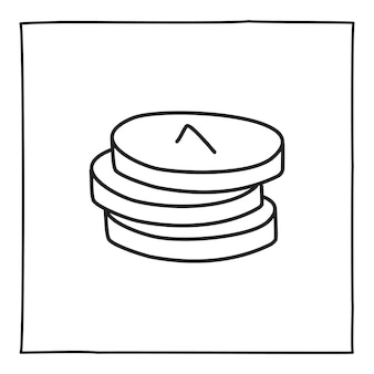 Doodle-münzen-rechnungssymbol oder logo, handgezeichnet mit dünner schwarzer linie. isoliert auf weißem hintergrund. vektor-illustration