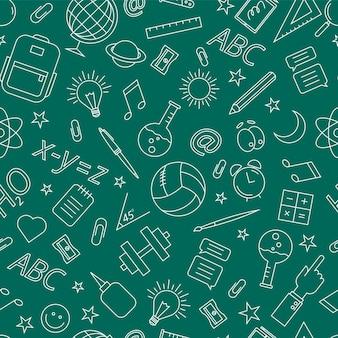 Doodle-muster der schule. vektorillustration auf grünem hintergrund.