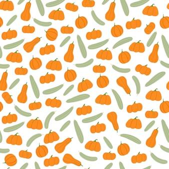 Doodle nahtloses muster mit orangefarbenen kürbissen und grauer zucchini-verzierung. weißer hintergrund. drucken.