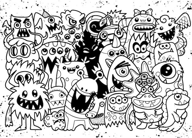 Doodle niedlichen monster hintergrund