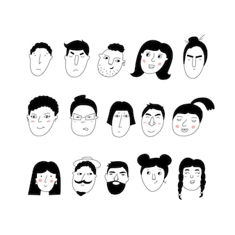 Doodle portraits mädchen und jungs trendige handgezeichnete icon-sammlung
