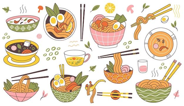 Doodle ramen-nudeln traditionelle asiatische essensschalen. japanische küche nudelsuppe, köstliche nudeln in fleischbrühe-vektor-illustration. orientalische ramenschalen mit garnelen und pilzen