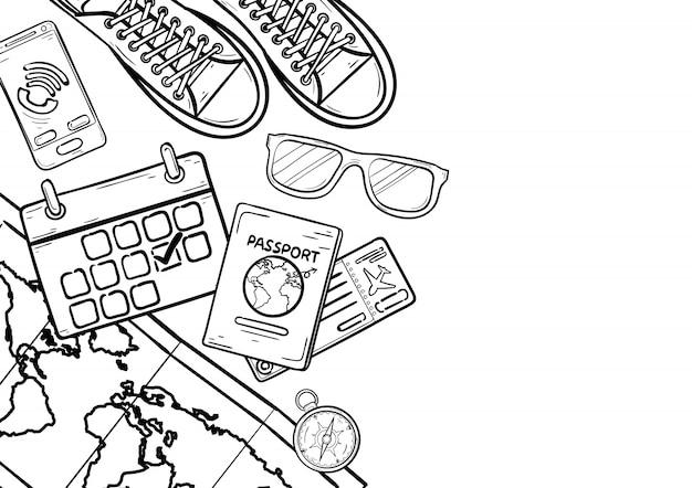 Doodle reiseelemente und zubehör. flugzeug um die welt konzept sommer
