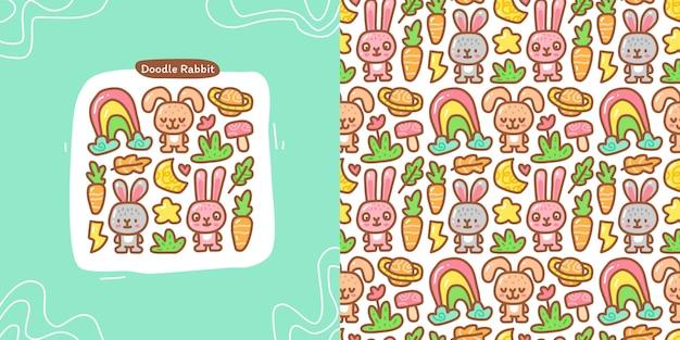 Doodle-sammlungssatz aus kaninchenelement und nahtlosem muster
