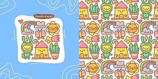 Doodle-sammlungssatz aus zufälligem kawaii-element und nahtlosem muster
