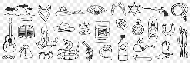 Doodle-set mit traditionellen cowboy-symbolen