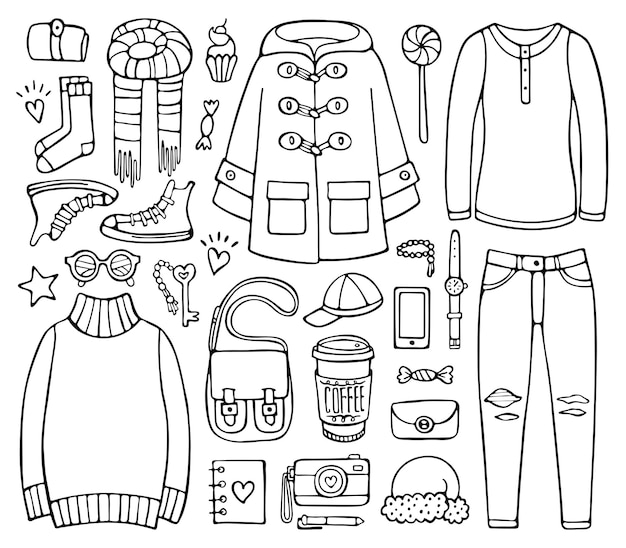 Doodle-set von kleidungselementen und accessoires für die kalte jahreszeit