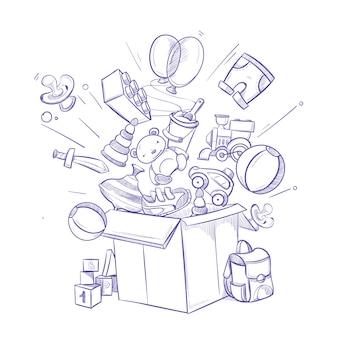 Doodle shopping box mit vielen kindern spielzeug und einkäufe