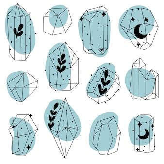Doodle-skizze-kristalle. sammlung von mineralien