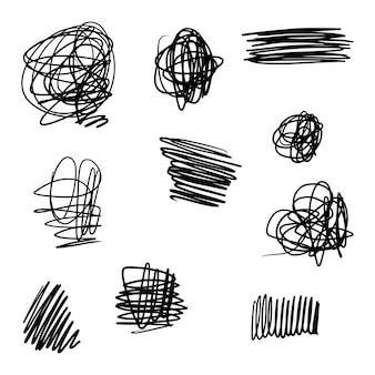 Doodle skizzenhaften stift und gekritzel isoliert auf weißem hintergrund .vector illustration