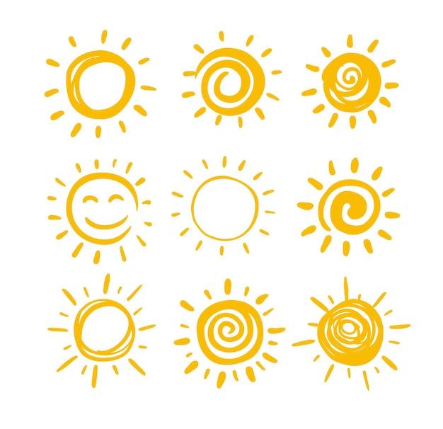 Doodle-sonnenuntergang für sommerdesign.