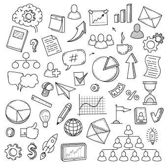 Doodle-start. skizzieren sie intelligentes ideenkonzept mit glühbirne, digitalem innovationsunternehmen und symbolen, lehren sie geschäftsmarketing, vektorsatz. marketinginnovationsstart, glühbirnenskizzenillustration