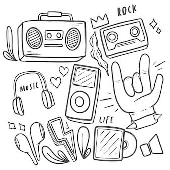 Doodle sticker musik handgezeichnet