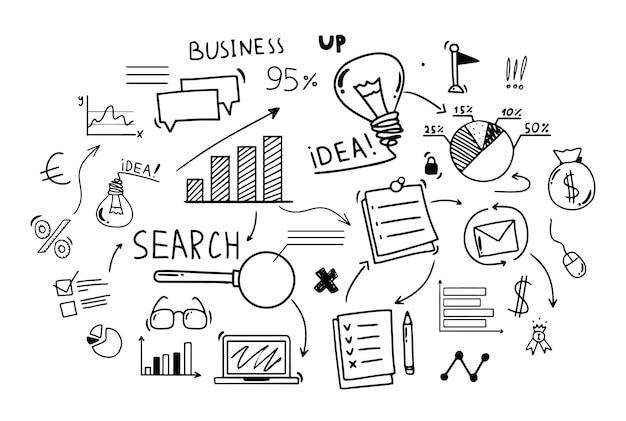 .doodle-stil handzeichnung. business-infografiken. isolierte vektor-illustration.