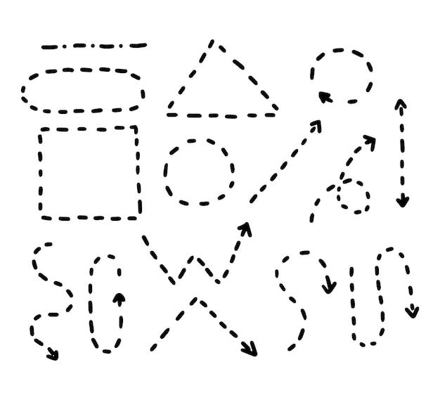 Doodle-stil handzeichnung schwarz-weiß-pfeile mit verschiedenen formen zeiger isolierter vektor
