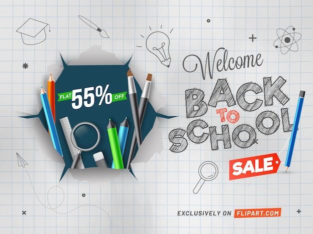 Doodle-stil willkommen zurück in der schule verkauf poster design mit realistischen pädagogischen elementen auf zerrissenem papierhintergrund.