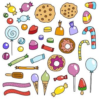 Doodle süßigkeiten gesetzt. süße süßigkeiten, lutscher, donuts, kuchen, gelees, eis usw.