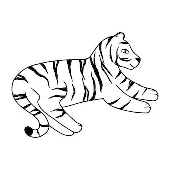 Doodle tiger liegt, von hand gezeichnet. süßer chinesischer tiger mit schwarzen linien gezeichnet. vektor-illustration isoliert auf weißem hintergrund