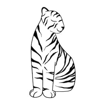 Doodle tiger sitzend, von hand gezeichnet. süßer chinesischer tiger mit schwarzen linien gezeichnet. vektor-illustration isoliert auf weißem hintergrund