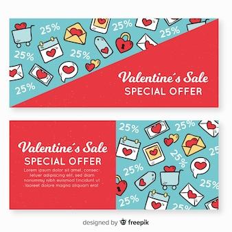 Doodle valentine verkauf banner