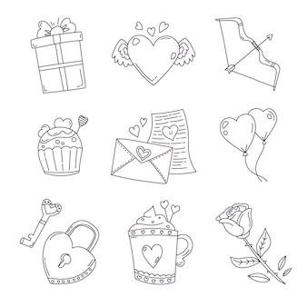 Doodle valentinstag element sammlung