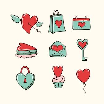 Doodle valentinstag elementsammlung