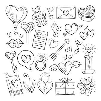 Doodle valentinstag elementsatz