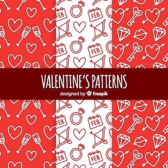 Doodle valentinstag muster