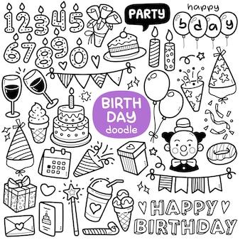 Doodle-vektor-set geburtstagsfeier-objekte und -elemente wie kuchen-clown-kerzen-geschenk usw