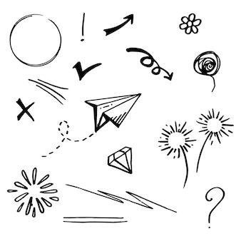 Doodle-vektor-set-illustration mit hand zeichnen linie kunst-stil-vektor. krone, könig, sonne, pfeil, herz, liebe, stern, wirbel, swoops, betonung, für konzeptdesign