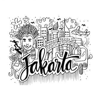 Doodle von jakarta mit sehenswürdigkeiten