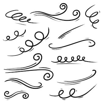 Doodle von windböen isoliert auf weißem hintergrund. handgezeichnete vektor-illustration.