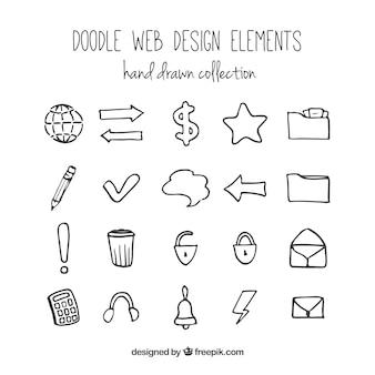 Doodle web-elemente und symbole Kostenlosen Vektoren