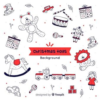 Doodle weihnachten spielzeug hintergrund