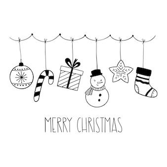 Doodle weihnachtsgirlande mit feiertagselementen handbeschriftungfrohe weihnachten