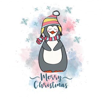 Doodle weihnachtskarte mit gekleidetem pinguin