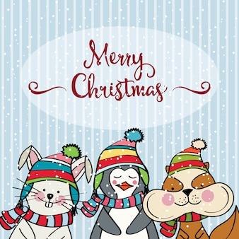 Doodle weihnachtskarte mit lustigen gekleideten tieren