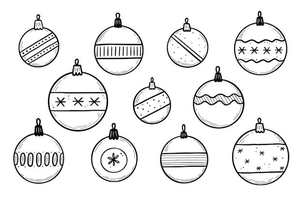 Doodle weihnachtskugel-set. handgezeichneter skizzenstil. weihnachtskugel mit schwarzer linie. isolierte vektor-illustration.