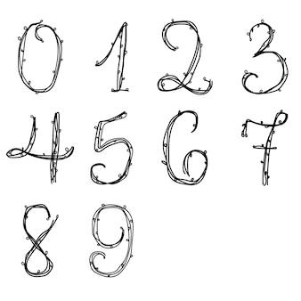 Doodle-zahlen-sammlung im floralen stil isolierte vektor-illustration. tinte typografische entwurfszeichnung. kreativer elementsatz.