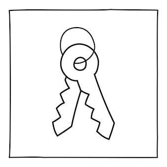 Doodle zwei schlüsselsymbol oder logo, handgezeichnet mit dünner schwarzer linie.