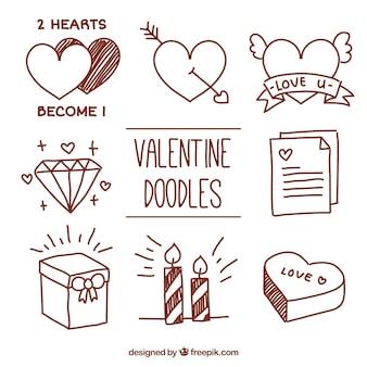 Doodles der liebe elemente packen