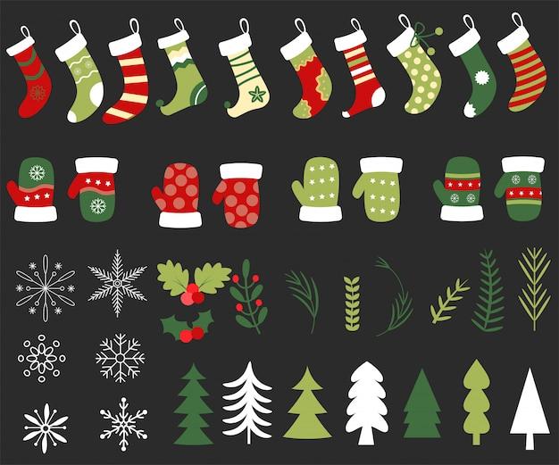 Doodles flaches design des weihnachtselementes hand gezeichnetes