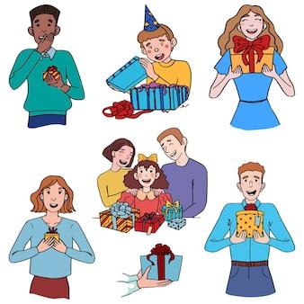 Doodles illustrationen von fröhlichen menschen mit geschenken. konzept der annahme oder des geschenks. handgezeichnete vektorsammlung im einfachen flachen stil. farbige zeichnungen getrennt auf weiß für design.