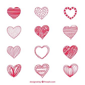 Doodles rosa herzen sammlung