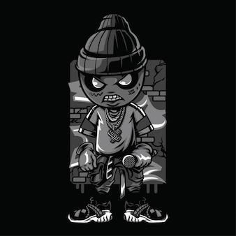 Dope style schwarzweiss-illustration